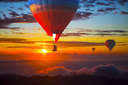 Beautiful balloons in the sky at sunset, Bali, Indonesia