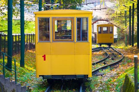 Yellow funicular railway in Kaunas town, Lithuania