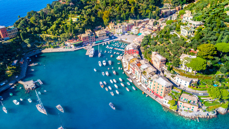 Beautiful sea coast with colorful houses in Portofino, Italy. Summer landscape