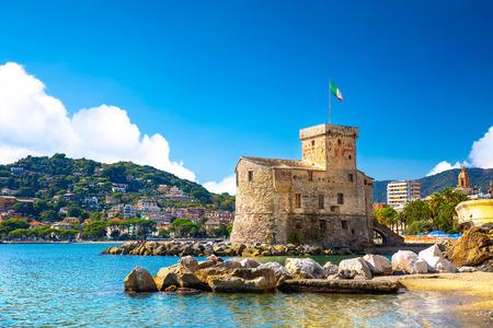 Beautiful view of coastline and picturesque seaside village Rapallo. Little harbor and houses. 写真素材