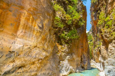 Passage of famous Samaria Gorge, Crete, Greece 스톡 콘텐츠