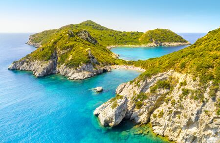 Porto Timoni is an amazing beautiful double beach in Corfu, Greece Banque d'images - 131025393