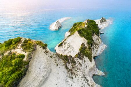 Beautiful view of Cape Drastis in Corfu in Greece Stok Fotoğraf
