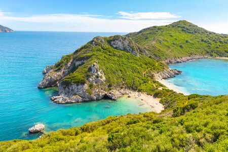 Porto Timoni is an amazing beautiful double beach in Corfu, Greece Banque d'images - 132778879