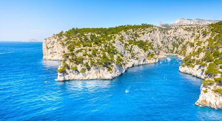 Panoramic view of Calanques National Park near Cassis fishing village, Provence, South France, Europe, Mediterranean sea Stock Photo