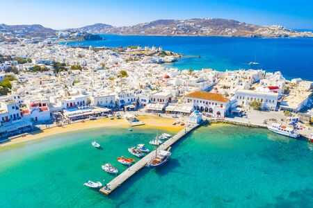 Panoramic view of Mykonos town, Greece Banque d'images - 135035736
