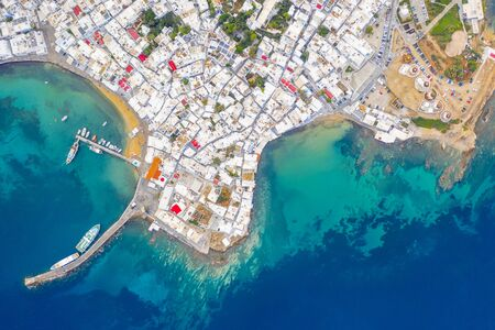 Panoramic view of Mykonos town, Greece Banque d'images - 135035746