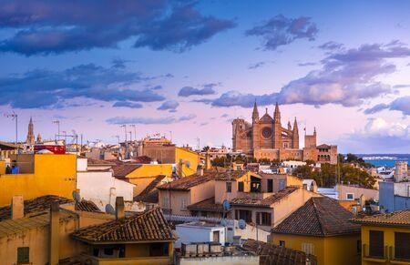 Panoramic view of Palma de Majorca, Mallorca Balearic Islands, Mediterranean Sea. Spain Banque d'images - 135230878