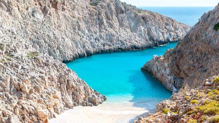 Seitan limania or Agiou Stefanou, the heavenly beach with turquoise water. Chania, Akrotiri, Crete