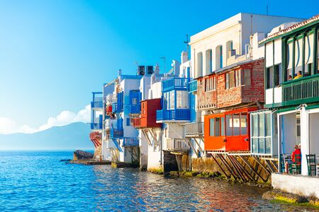Panoramic view of Mykonos town, Greece
