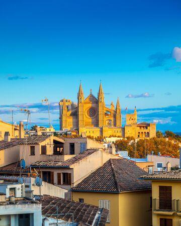 Panoramic view of Palma de Majorca, Mallorca Balearic Islands, Mediterranean Sea 免版税图像