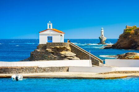 View of Andros, beautiful island in the Cyclades, Greece, Europe