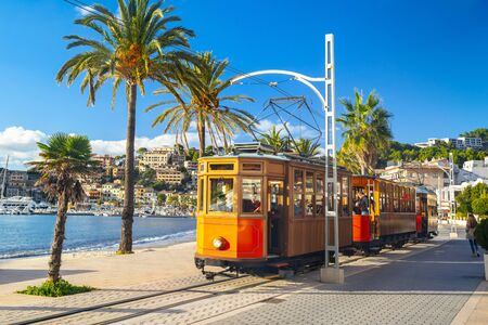 The famous orange tram runs from Soller to Port de Soller, Mallorca island, Spain