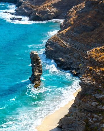 Photo of iconic beach of Grias Pidima near village of Korthi, Andros island, Cyclades, Greece