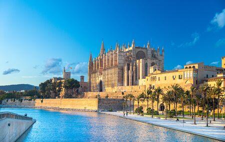 Panoramic view of Palma de Majorca, Mallorca Balearic Islands, Mediterranean Sea. Spain 免版税图像
