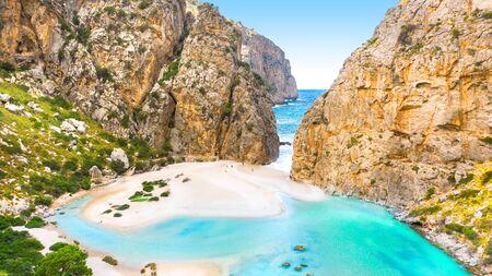 Torrente de Pareis, island of Mallorca, Balearic islands, Spain 免版税图像