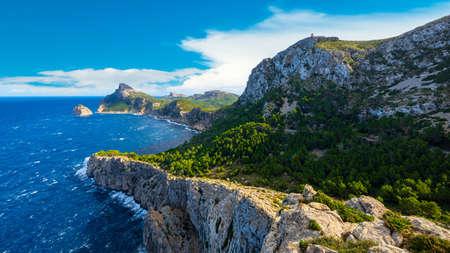Panoramic view of Cape Formentor. Mallorca, Balearic Islands, Spain 免版税图像