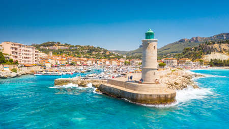 Panoramic view of the fishing village of Cassis near Marseille, Provence, South France, Europe, Mediterranean sea 免版税图像