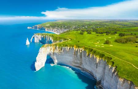 Picturesque panoramic landscape on the cliffs of Etretat. Natural amazing cliffs. Etretat, Normandy, France