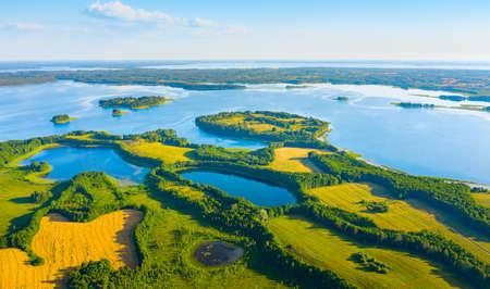 Aerial view of lakes in Narachanski National Park, Belarus