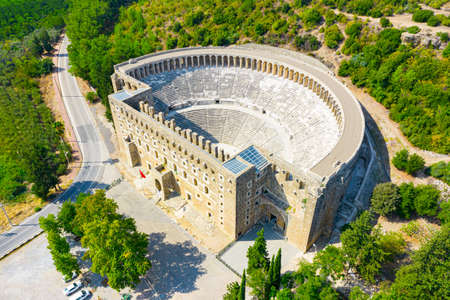 Aerial view of the ancient Aspendos amphitheater near Side town