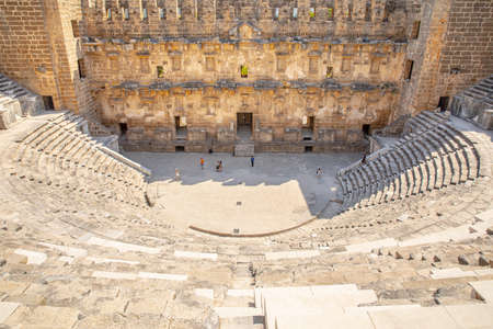 View of the ancient Aspendos amphitheater near Antalya city