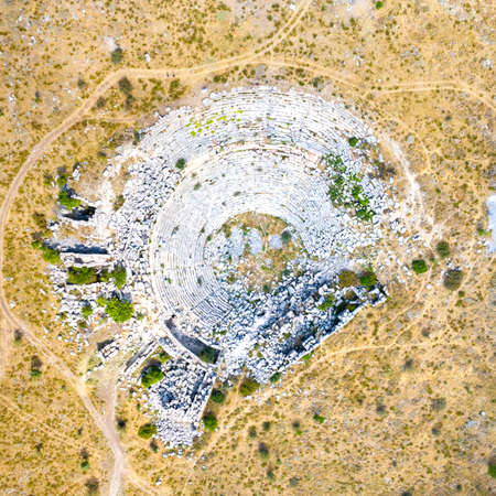 Aerial view of the roman amphitheater in the ancient Sagalassos town, Province Burdur, Turkey Standard-Bild