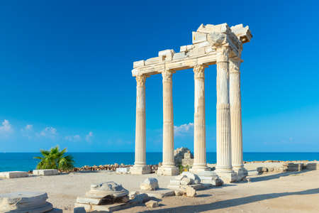 Ruins of the Temple of Apollo in Side in a summer day, Antalya, Turkey