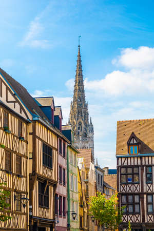 Traditional architecture of Rouen old streets. Rouen, France 免版税图像