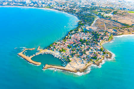Aerial view of ancient Side town, Antalya Province, Turkey