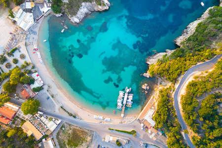 Paleokastritsa bay on Corfu island, Ionian archipelago, Greece 免版税图像