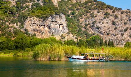 Famous Lycian Tombs of ancient Caunos town, Dalyan, Turkey