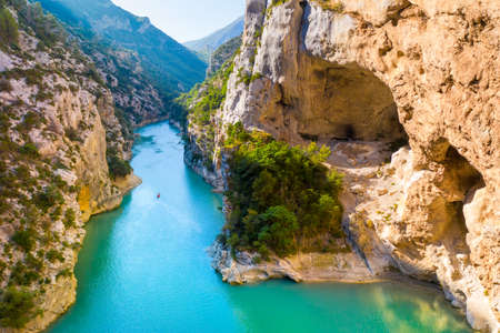 Wonderful view of the Verdon Gorge. Aiguin, Provence, France