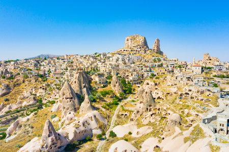 Uchisar castle in rock formation. Cappadocia. Nevsehir Province. Turkey