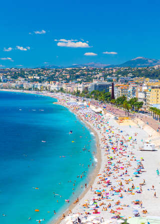 Promenade des Anglais in Nice, France. Nice is a popular Mediterranean tourist destination