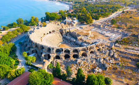Aerial view of the amphitheater in the ancient Side town, Antalya Province, Turkey