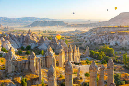 Panoramic view of Love valley near Goreme village, Cappadocia, Turkey