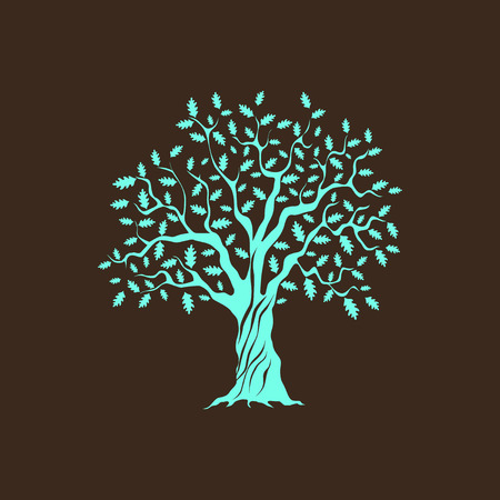 hardness: Beautiful green oak tree silhouette on brown background. Infographic modern vector sign. Premium quality illustration design concept.