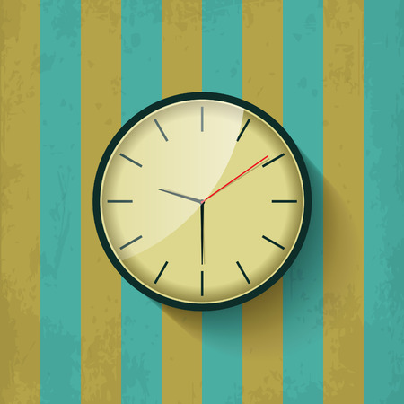 show time: Beautiful old mechanical wall clock show time on brown and green vintage texture background. Premium quality retro flat style isolated illustration design concept.
