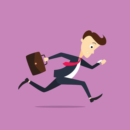 Handsome businessman late to work Illustration