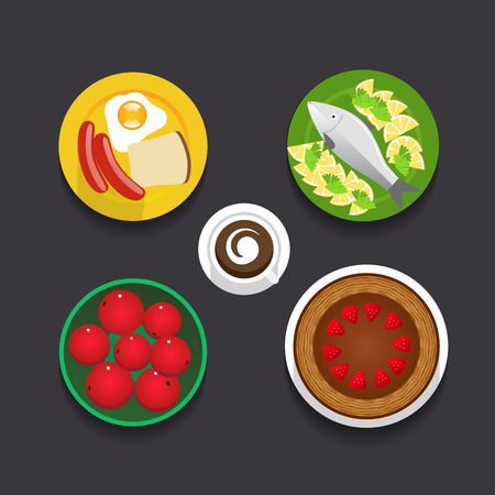 dishes set: Tasty, gorgeous dishes set isolated on dark background. Web graphics modern flat style food design.