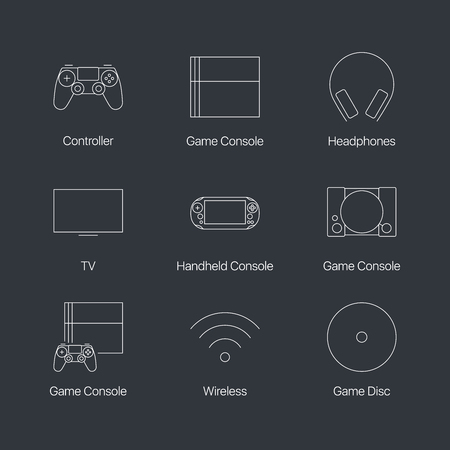 quality controller: Thin line video game console controller linear icons set isolated on dark background. Web graphics simple mono outline devices symbol collection. Premium quality best modern stroke vector concept pictogram pack.