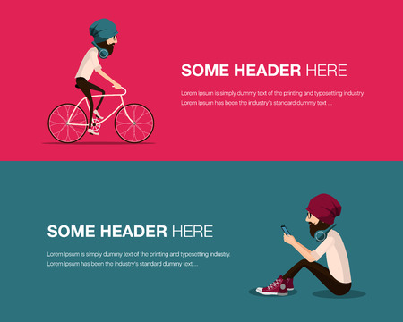 tight: Hipster bearded man in a hat riding vintage bicycle and sitting and using mobile smart phone. Guy cycling and listening music with modern headphones wearing shirt and tight jeans and trendy glasses. Illustration