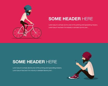 jeans apretados: Hipster hombre de la barba en un sombrero montando bicicleta de la vendimia y sentado y el uso de teléfono móvil inteligente. ciclismo Guy y escuchando música con auriculares modernos que usan camisa y pantalones vaqueros ajustados y gafas de moda.