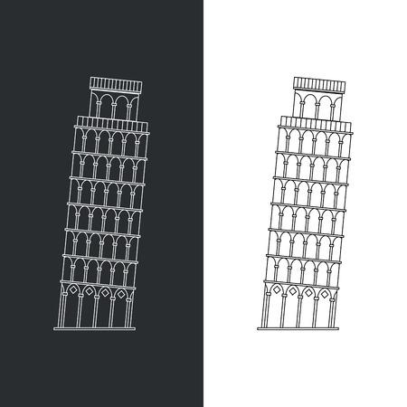 Thin line Leaning Tower Pisa vector illustration icon. Outline landmark Italian Tuscany symbol isolated on white. Premium quality linear stroke logo of Italy concept pictogram. Vettoriali