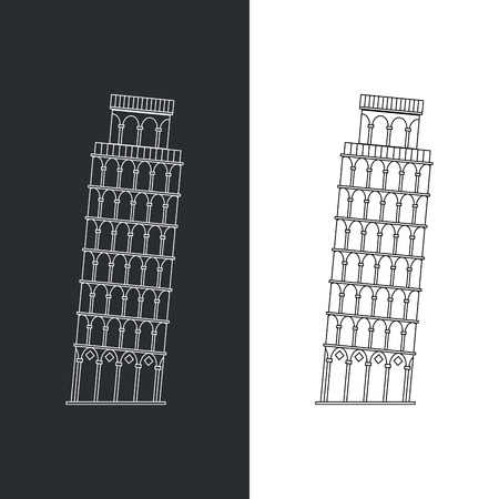 siena italy: Thin line Leaning Tower Pisa vector illustration icon. Outline landmark Italian Tuscany symbol isolated on white. Premium quality linear stroke logo of Italy concept pictogram. Illustration