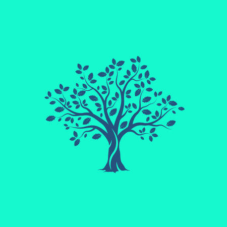 Mooie boom silhouet op groene achtergrond. Infographic moderne vector teken. Premium kwaliteit illustratie logo design concept.