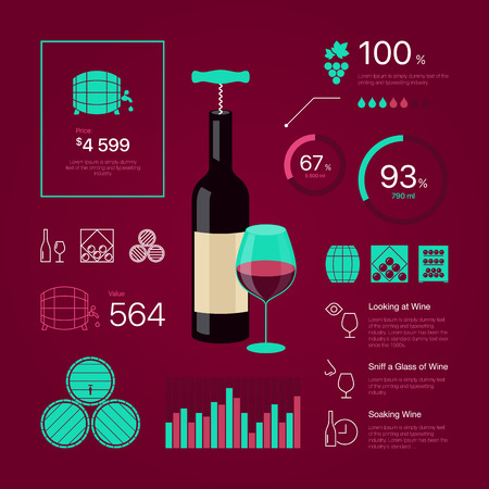 sniff: Premium quality thin line color wine infographic on vinous background. Modern web graphics linear icons set. Simple mono outline symbol collection and best stroke vector logo concept pictogram pack