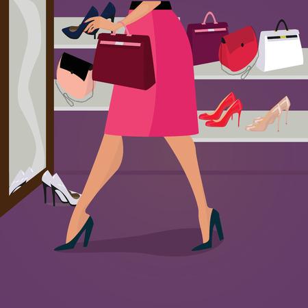 Premium-Qualität Mode-Schuhe und Taschen für Frauen im Shop. Attraktive Frau in einem roten Rock schaut in den Spiegel und versuchen Tasche. Schöne Beine.