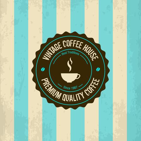 elegant template: Vintage coffee logo template concept pictogram. Elegant ornament stamp emblem. Premium quality retro line sign vector illustration sticker. Illustration